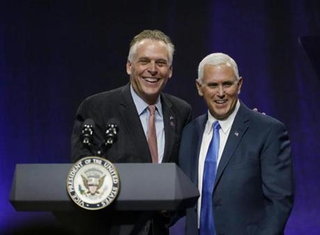 Governor Terence McAuliffe of Virginia introduced Vice President Mike Pence before Pence addressed the NGA on Friday in Providence.